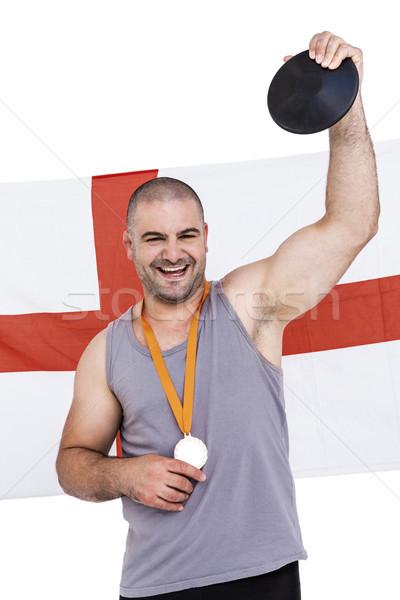 Athlète médaille d'or Angleterre pavillon homme fond Photo stock © wavebreak_media