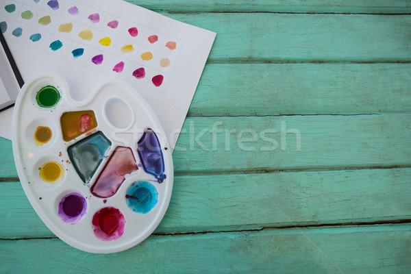 Colorido paleta papel superfície madeira Foto stock © wavebreak_media
