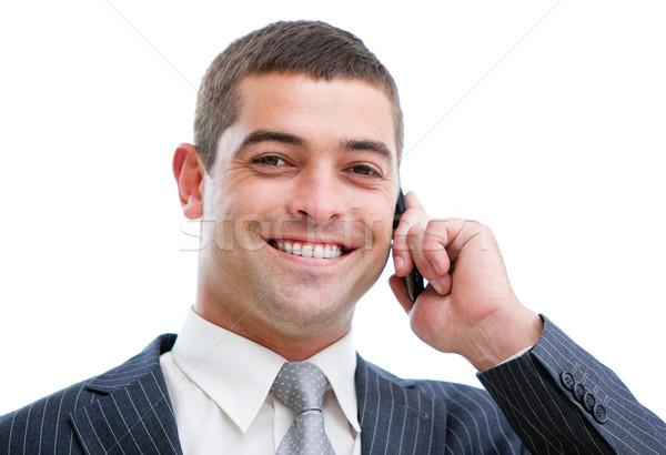 Portrait affaires téléphone isolé blanche bureau Photo stock © wavebreak_media