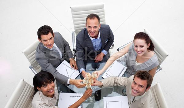 équipe commerciale potable champagne bureau heureux Photo stock © wavebreak_media