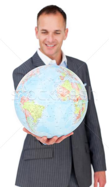 Zakenman glimlachend wereldwijde business geïsoleerd witte glimlach Stockfoto © wavebreak_media