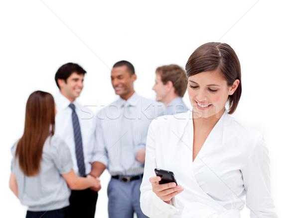 Stock fotó: Barna · hajú · üzletasszony · küldés · üzenet · csapat · boldog