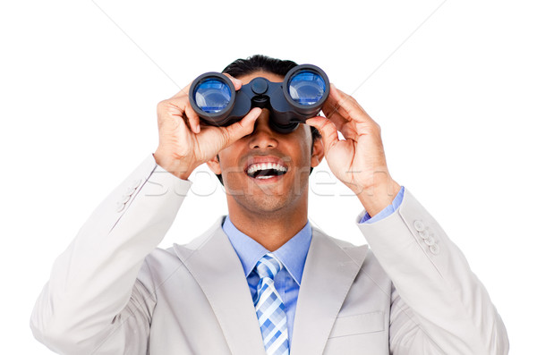 Szczęśliwy biznesmen patrząc lornetki biały człowiek Zdjęcia stock © wavebreak_media
