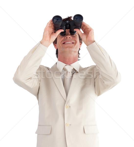 Maturo imprenditore binocolo isolato bianco mano Foto d'archivio © wavebreak_media