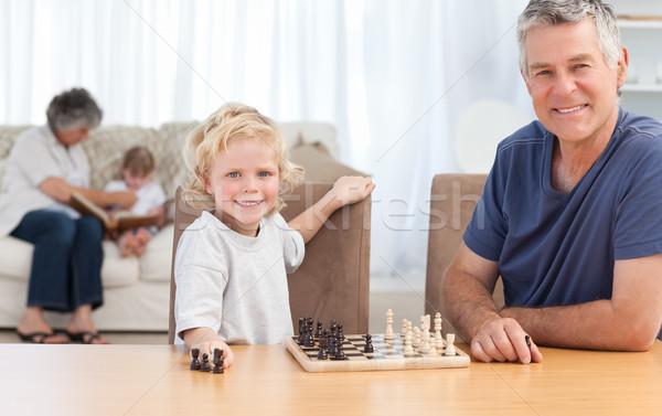 играет шахматам деда домой лице Сток-фото © wavebreak_media