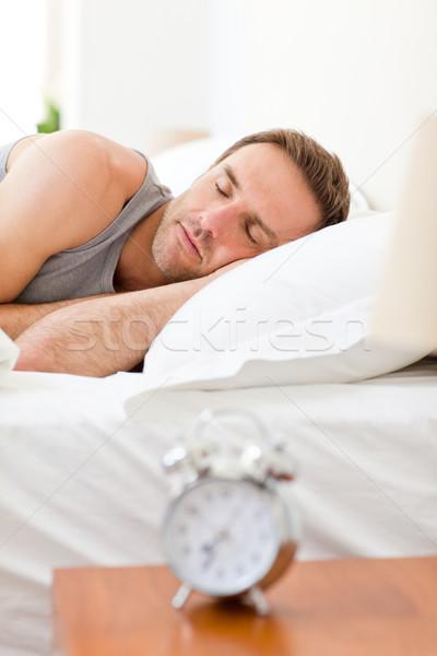 Stock fotó: Megnyugtató · férfi · alszik · ágy · ház · hálószoba