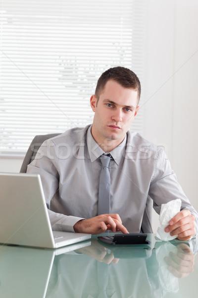 молодые бизнесмен бизнеса ноутбука технологий Сток-фото © wavebreak_media