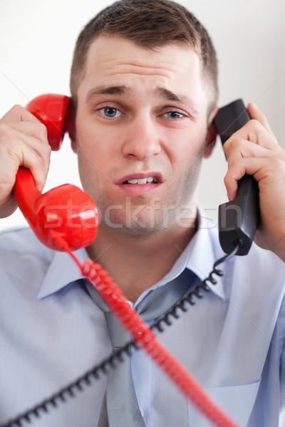Közelkép üzletember telefon iroda telefon vállalati Stock fotó © wavebreak_media