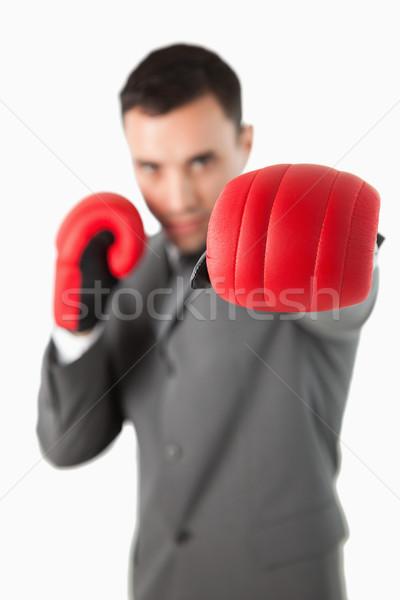 Pięść rękawica bokserska biały działalności biuro Zdjęcia stock © wavebreak_media