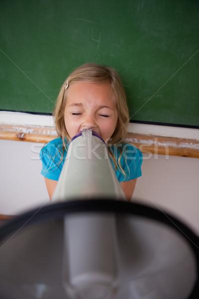 портрет сердиться школьница кричали мегафон классе Сток-фото © wavebreak_media