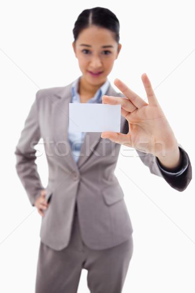 Portret jonge zakenvrouw tonen visitekaartje witte Stockfoto © wavebreak_media