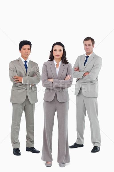 Armen gevouwen witte business zakenman pak Stockfoto © wavebreak_media