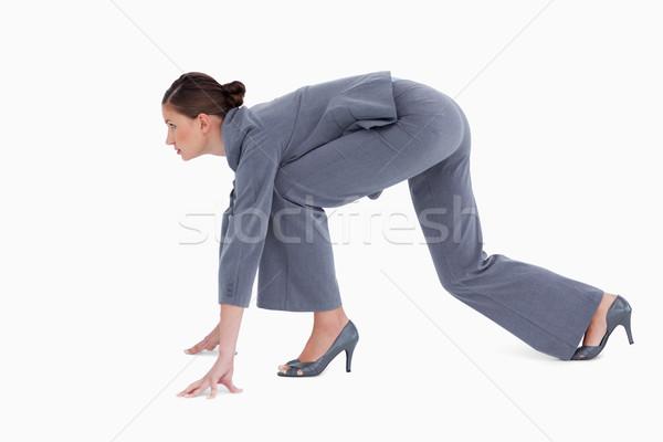 Vista lateral posición blanco negocios mujer empresario Foto stock © wavebreak_media