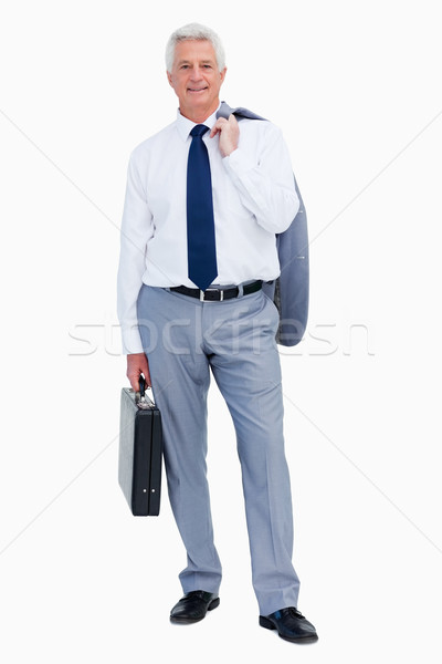Retrato legal empresário mala branco sorrir Foto stock © wavebreak_media