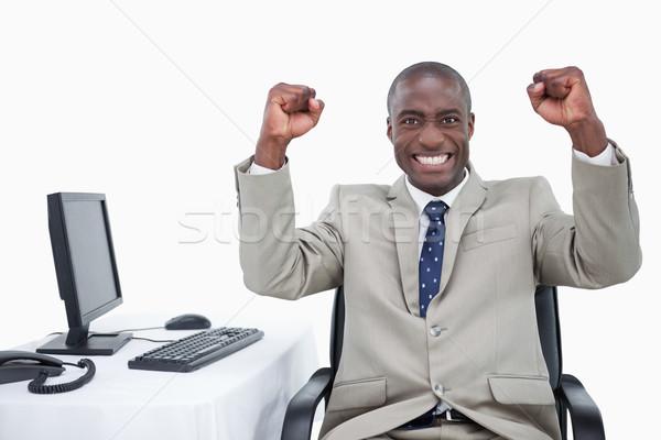 Di successo venditore up bianco uomo felice Foto d'archivio © wavebreak_media