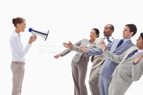 Stock fotó: Nő · kiabál · emberek · öltönyök · megafon · fehér