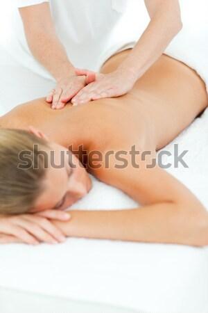 Foto stock: Mulher · médico · quarto · mãos · saúde