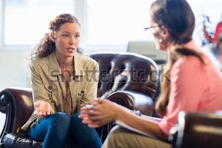 Szőke nő megnyugtató szék kórház papír könyv Stock fotó © wavebreak_media