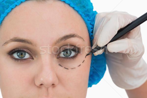 Stok fotoğraf: Plastik · cerrah · yazı · ciddi · yüz · beyaz