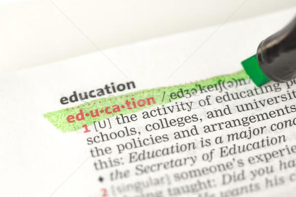 образование определение зеленый словарь бумаги изучения Сток-фото © wavebreak_media