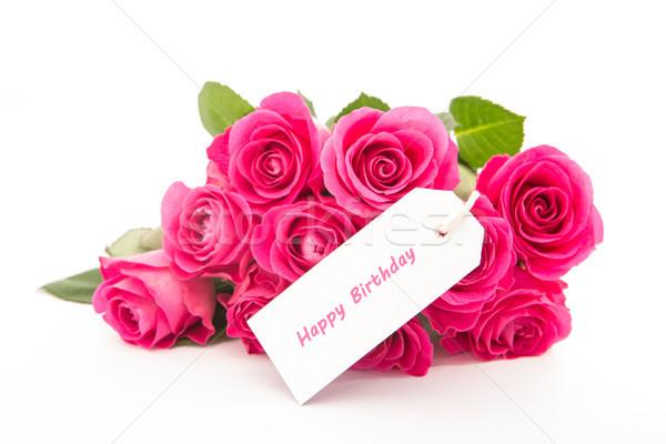 Mooie boeket roze rozen gelukkig Stockfoto © wavebreak_media