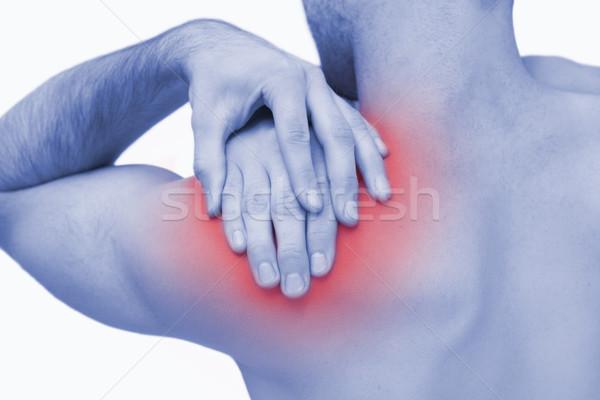 Sin camisa hombre dolor en el hombro blanco manos Foto stock © wavebreak_media
