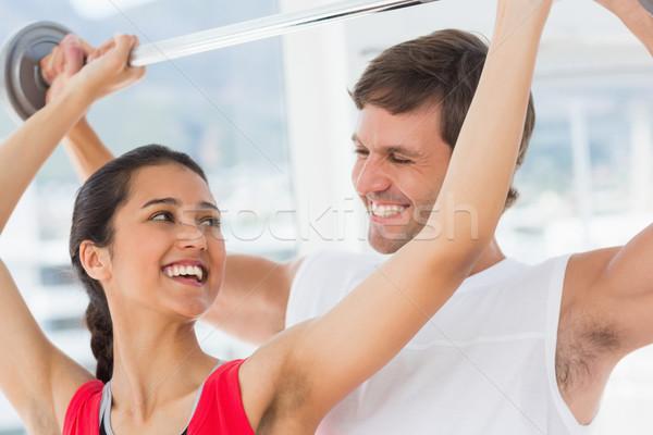 мужчины тренер помогают соответствовать женщину лифт Сток-фото © wavebreak_media