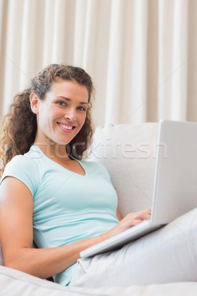 Stock photo: Woman using laptop