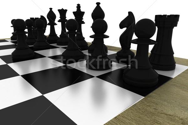 Negro piezas de ajedrez bordo blanco ajedrez estrategia Foto stock © wavebreak_media