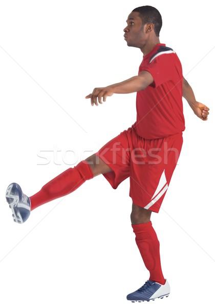 Futballista piros rúg fehér futball viselet Stock fotó © wavebreak_media
