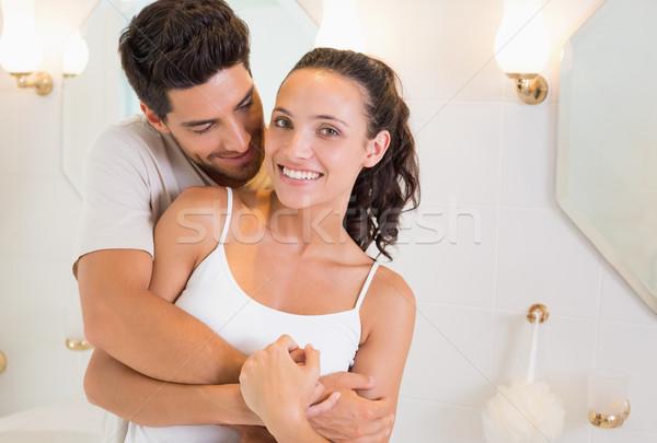 Aantrekkelijk paar pyjama home badkamer Stockfoto © wavebreak_media