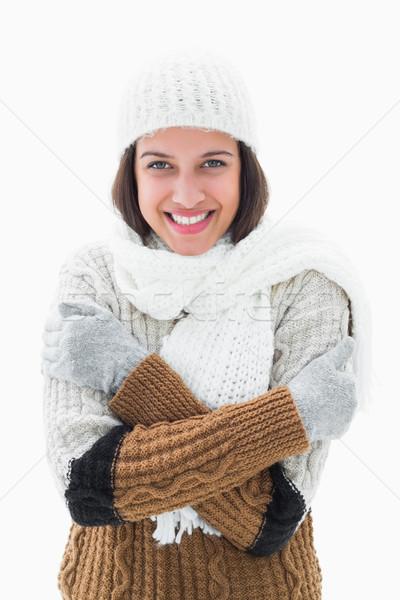довольно брюнетка одежды белый счастливым Сток-фото © wavebreak_media