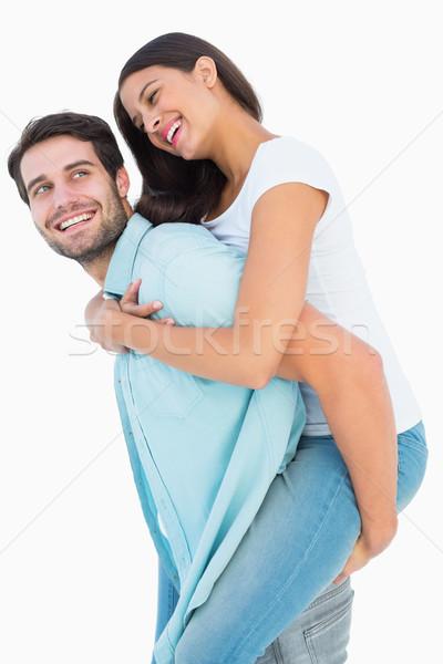 Glücklich Mann ziemlich Freundin Schweinchen Stock foto © wavebreak_media