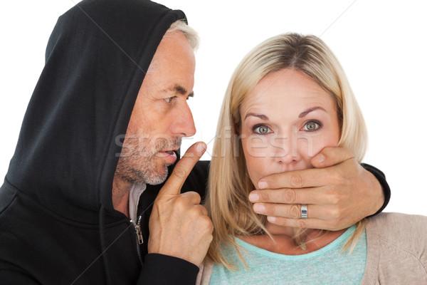Hırsızlık ağız beyaz kadın kadın Stok fotoğraf © wavebreak_media