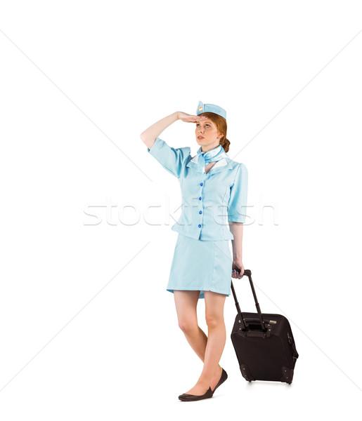 Güzel hava hostes bavul beyaz Stok fotoğraf © wavebreak_media