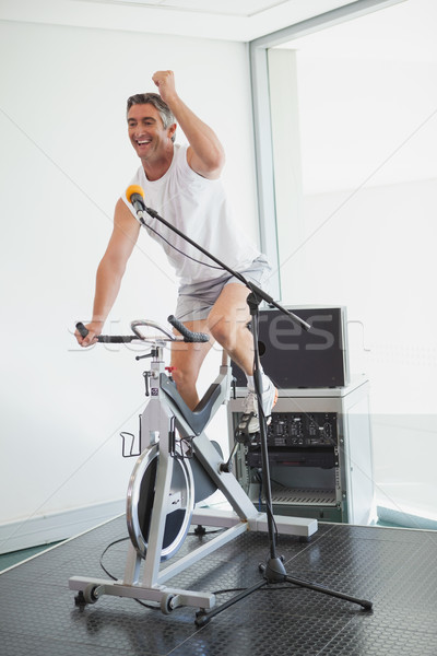 Spinning instructor motivating his class Stock photo © wavebreak_media