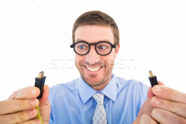 Geschäftsmann halten zwei Kabel weiß Mann Stock foto © wavebreak_media