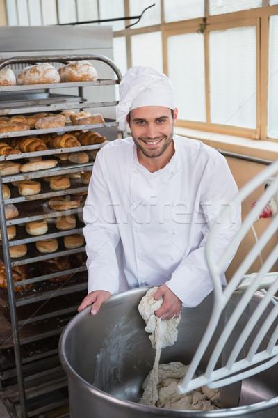 Photo stock: Souriant · Baker · industrielle · mixeur · boulangerie · affaires