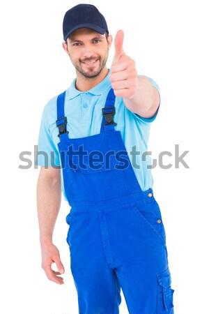 Ezermester tart kártya fehér férfi felirat Stock fotó © wavebreak_media