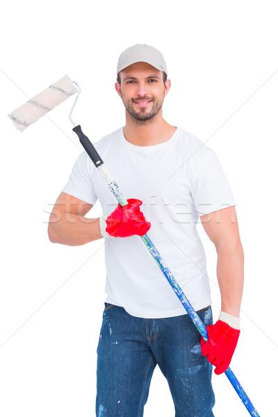 Handyman pintar homem retrato vermelho Foto stock © wavebreak_media