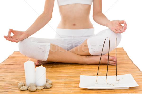 Caber mulher meditando bambu fitness saúde Foto stock © wavebreak_media