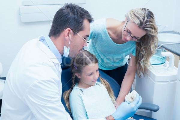 Dişçi asistan öğretim kız fırçalamak dişler Stok fotoğraf © wavebreak_media