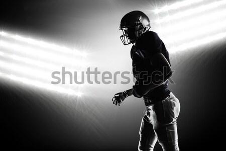 összetett kép sziluett amerikai futballista fut Stock fotó © wavebreak_media
