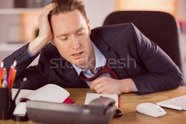 Agotado empresario dormir escritorio oficina ratón Foto stock © wavebreak_media