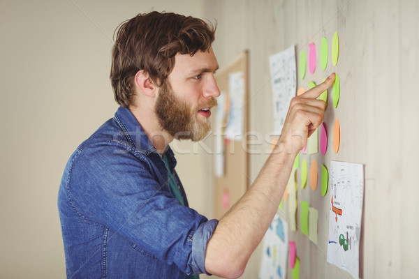 Barbuto guardando brainstorming muro ufficio Foto d'archivio © wavebreak_media