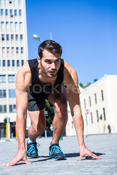 Jóképű atléta kész futás város tavasz Stock fotó © wavebreak_media
