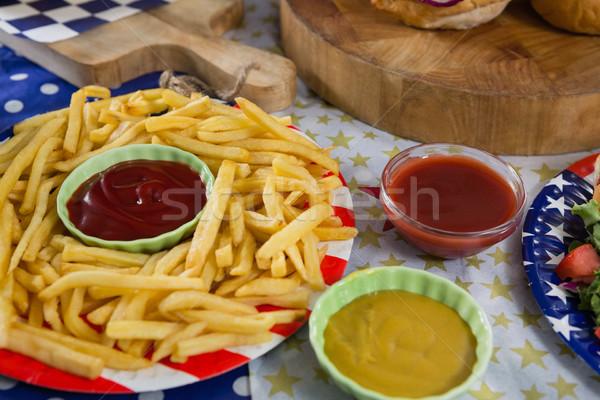フライドポテト 木製のテーブル クローズアップ 食品 青 ストックフォト © wavebreak_media