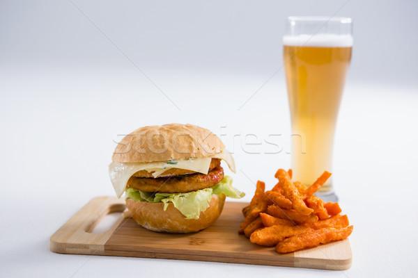 Hamburger gekruid bier glas Stockfoto © wavebreak_media