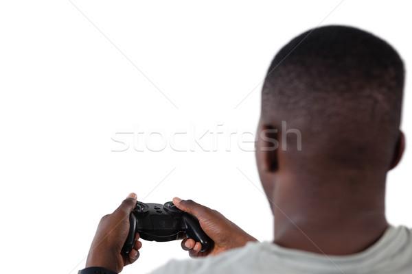 Сток-фото: человека · играет · видеоигра · белый · технологий