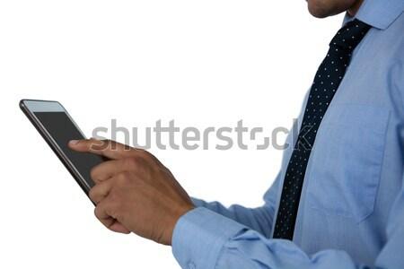 Vista laterale imprenditore tablet bianco blu professionali Foto d'archivio © wavebreak_media